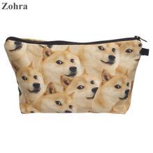 Zohra dog 3D printing necessaire Women Cosmetics Bags organizer neceser travel maleta de maquiagem organizador girls Makeup bag