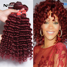 Big discount!Cheap Peruvian bohemian 99j red wine virgin human hair extensions burgundy kinky curly 3 bundles lot classic curly(China (Mainland))