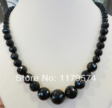 """New The classic lady all-match wholesale Faceted 6-14mm Black Agate Round Onyx Jaspers Beads Necklace 18"""" WJ143(China (Mainland))"""