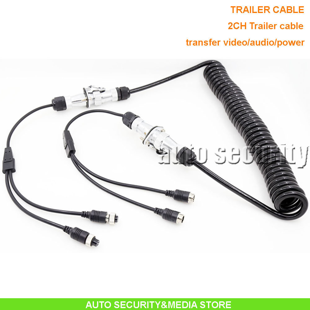 2CH 7pin connector spiral trailer cable 0.4m*4m*0.4m ideal for various truck/lorry/caravan camera system, DC12-24V wide voltage(China (Mainland))