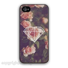 Mobile Phone Case Geometric Diamond x Roses Hard Phone CellPhone Cover Skin Case for Apple iPhone 4 4s 5 5s 5c 6 6s plus