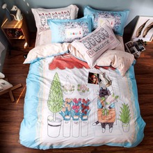 2016 new fashion 100% cotton panel print bedding bedset duvet cover set lovely modern pattern cute drawing Queen set living room(China (Mainland))