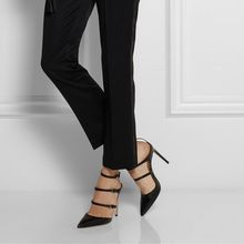 Pointed Toe Black Stilettos High Heels Brand Woman Sandals Cut-Outs Ankle-Wrap Buckles 2015 Female Shoes New Summer Style