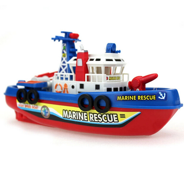 Free Shipping Fire Boat Electric Boat Model Children electric toy Boat navigation Non-remote warships at sea(China (Mainland))