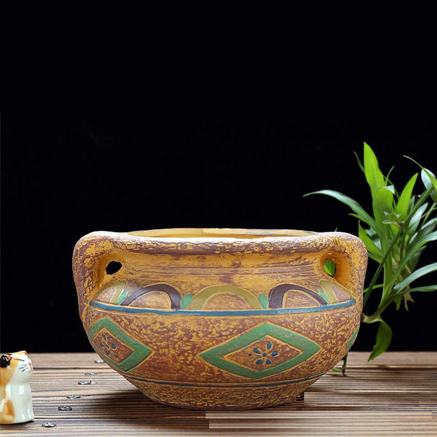 Beautiful pattern ceramic bonsai pot planter plant flower for Beautiful planters