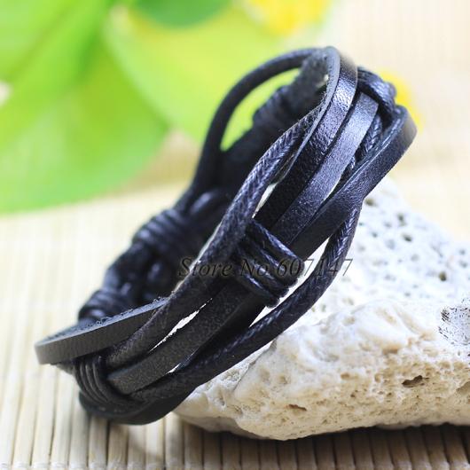 Wholesale Bangle 2pcs Fashion Jewelry Wrap Black Genuine Leather Bracelet Men with Braided Rope LZ28