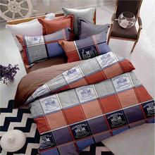 Sookie 3pcs Queen Size Duvet Cover Sets Plaid Bedding Set Grids Printed 2 Pillowcases 230X230cm(China (Mainland))
