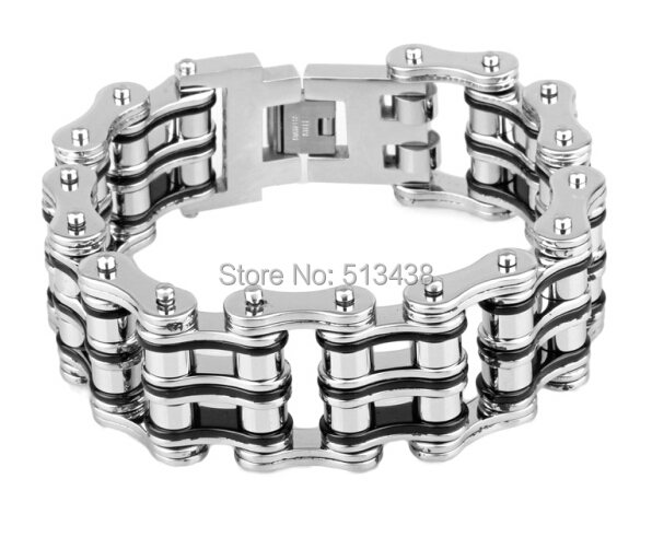 21MM WIDE HEAVY MENS BIKE CHAIN BRACELET STAINLESS STEEL DOUBLE LINK ROLLER UNIQUE DESIGN(China (Mainland))