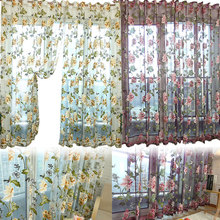 Buy New Window Curtain Flower Printed Transparent Sheer Screening Burnout Living Room Tulle Voile Fabric J2Y for $7.14 in AliExpress store