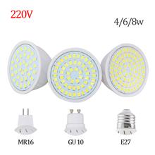 Factory Price LED Spotlight GU10 E27 MR16 Led Lamp 8W 4W 6W AC 220V 3528SMD 36Leds 54Leds 72Leds White/Warm White LED Lighting(China (Mainland))