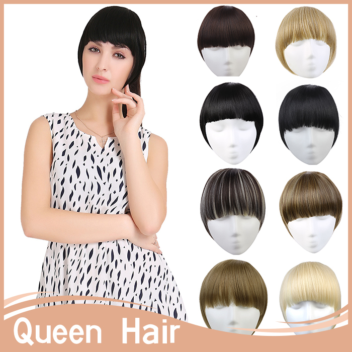 14 Colors!! Natural Neat Side Bang Front Hair Bangs Extension Clip in Bang Synthetic Hair Fringe Fiber Fake Hair Piece B3(China (Mainland))