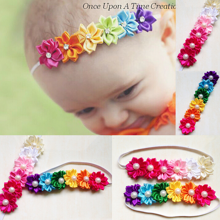 Free Shipping 2015 baby flower headband girls pearl headband baby hair acessories 12pcs/lot newborn infant elastic headband(China (Mainland))