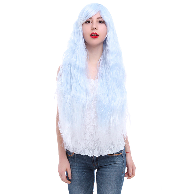 Free Shipping blue fade to white 90cm long curly rhapsody cosplay wig for ladys zy57<br><br>Aliexpress