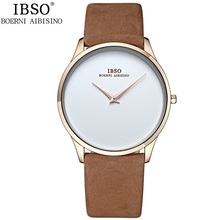 2016 IBSO Brand Classic Quartz Watch Men Watches Top Brand Luxury Famous Genuine Leather Wristwatch Male Clock Relogio Masculino