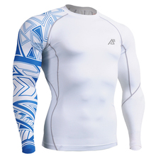 Mens Long Sleeves Top Jersey Compression Tight Skin Shirts Fitness Running GYM MMA One Side Prints Base Layer Outdoor Sportswear