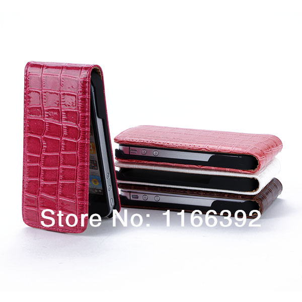 Fashion Vertical Crocodile Skin PU Leather Case Flip Cover For iPhone 4 4S 4GS Free Shipping & Drop ShippingFree&DropShipping(China (Mainland))