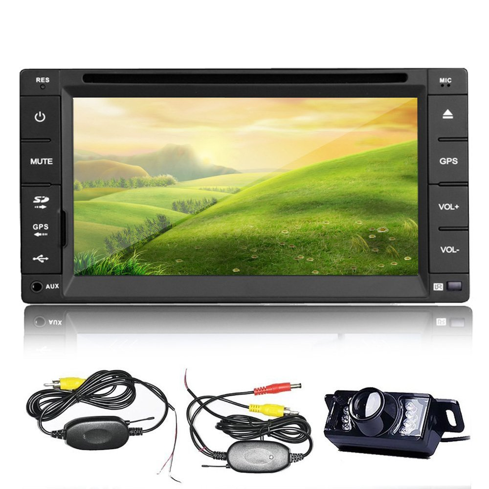 6.2'' HD In dash Car DVD Player Double 2 DIN GPS Navigation Car Stereo Radio Player iPod Bluetooth GPS Map +Wireless Camera(China (Mainland))