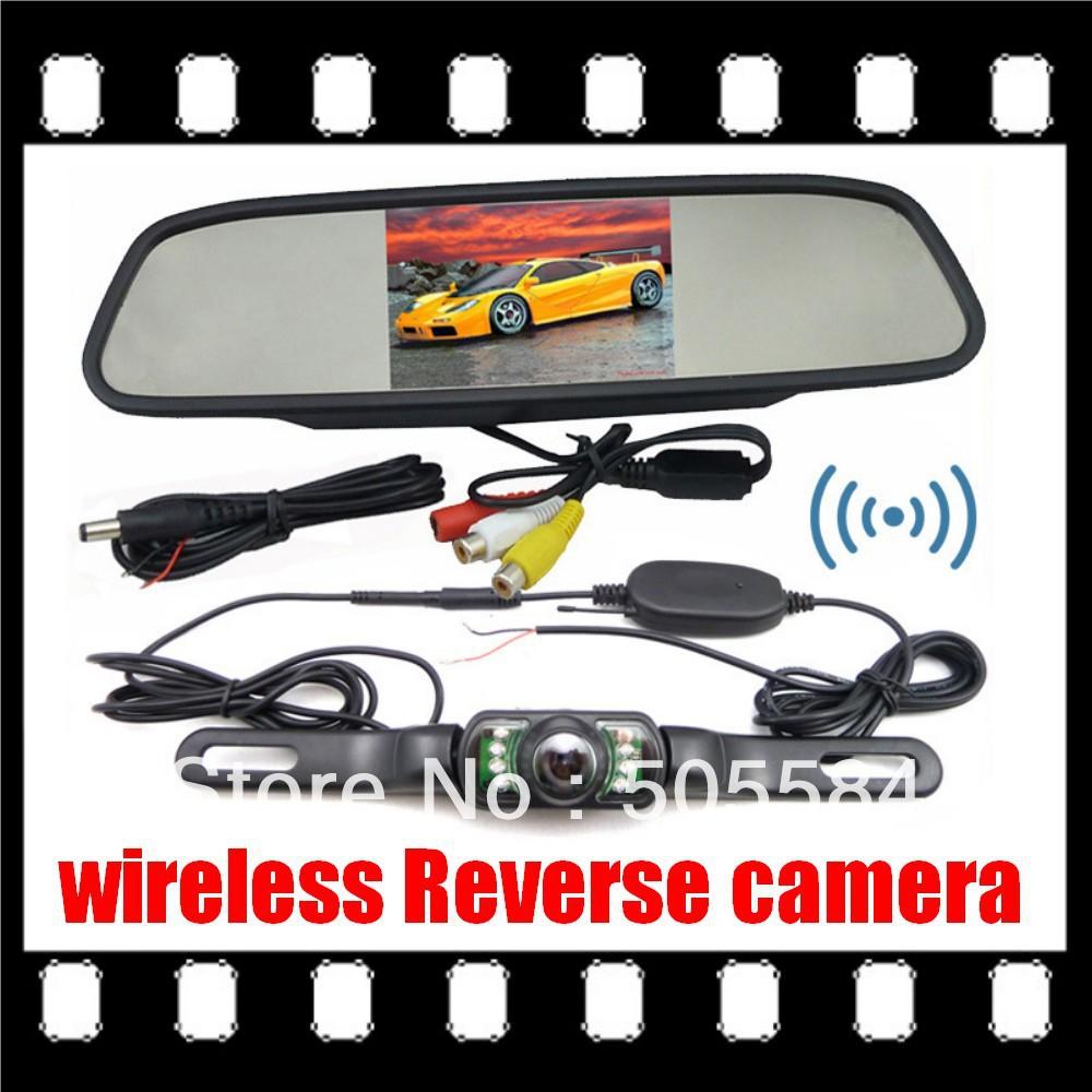 "2.4G Wireless Car Rear View Back up Camera + 4.3"" Mirror monitor+ Car parking assistance camera Monitor Wireless Rearview kits(China (Mainland))"