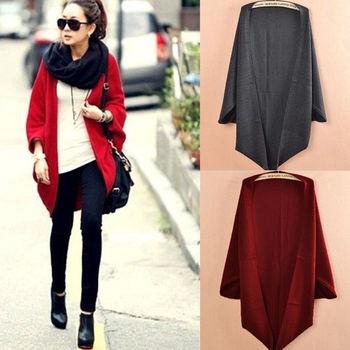 Новый стиль корея женщины широкий Batwing кардиганы шали вязать куртка шерстяное пальто свитер трикотаж топы H0837