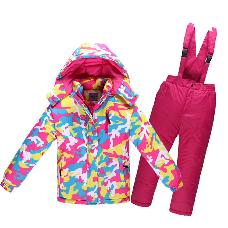 Children's Winter Ski Suit Minus 30 Degree Thick Warm Waterproof Windproof Girls Clothing Set Boys Outdoor Cotton Sports Clothes(China (Mainland))