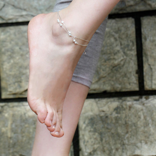 Wholesale Epc Sexy Lady s Women Anklets Bracelet Silver Frosted Lucky Beads Chain Barefoot Sandal Beach