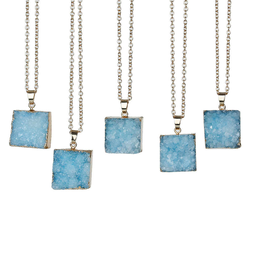 Quartz Crystal ( Natural ) Druzy /Drusy Necklace Link Cable Chain Gold Plated Rectangle Pendant Boho 62cm - 61cm long,1 Piece(China (Mainland))