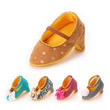 New Fashion Sweet Baby Girls Princess First Walkers Wedding Party Big Bow High Heels Shoes Infant Toddler Newborn Footwear(China (Mainland))