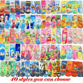 "8pairs/lot length18cm,7"" New kitty/mickie Cute Cartoon  girls boys Baby children's print ankle Normal Sneaker sock/socks"