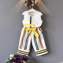 Gấu Lãnh Đạo Bé Gái Bộ Quần Áo Mùa Hè Thời Trang bé gái không tay Nối Thiết kế áo + quần Âu 2 Bé Gái quần áo(China)