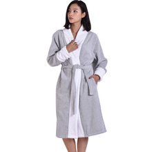 2015 Brand MMY Bathrobe - 100% Cotton Bath Robe Unisex Solid Dressing Gown Spa Bathrobe Pajamas Thick Long Nightgown Sleepwear(China (Mainland))