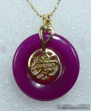 Hot sale new Style >>>>>Purple Jade 18KGP Chinese Fortune Letter Love Luck Pendant & Necklace(China (Mainland))