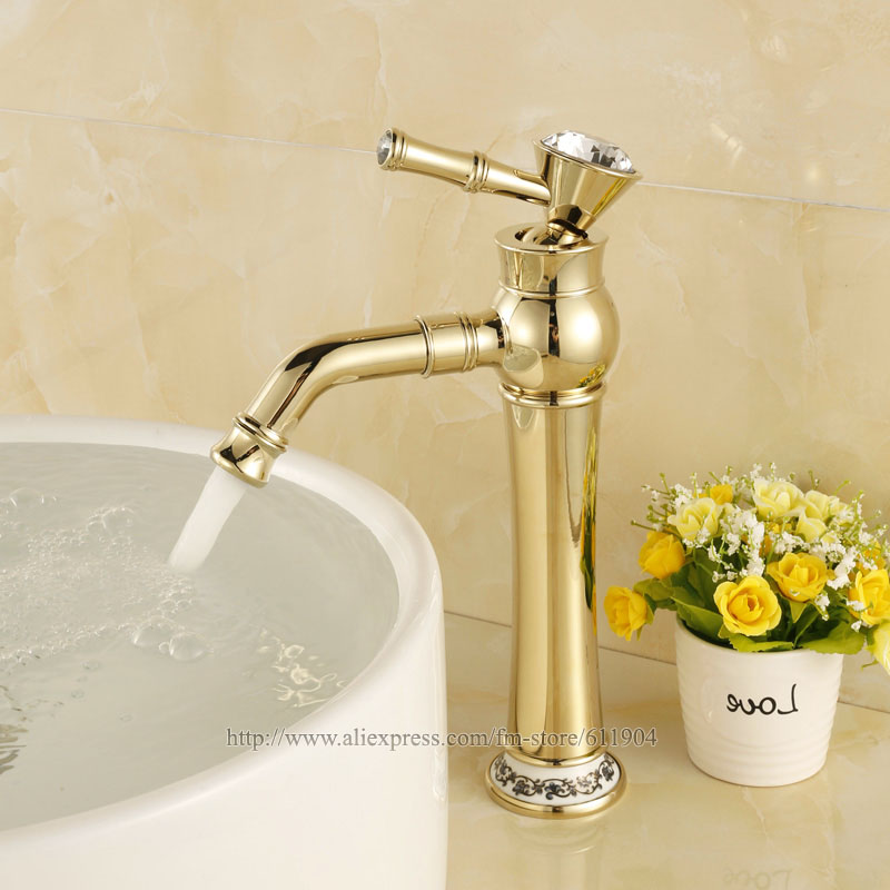 Aliexpresscom buy gold color tall bathroom faucet for Gold bathroom sink taps
