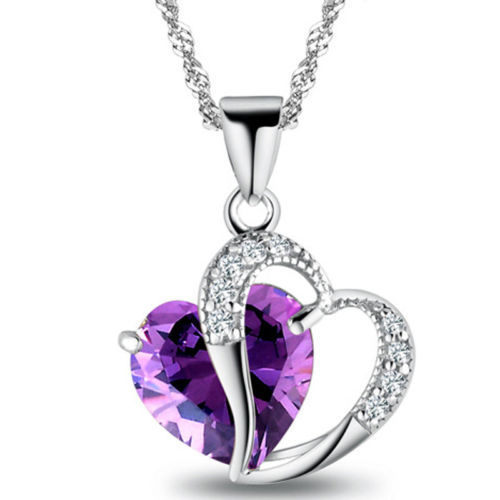 1 PC 9 Colors Top Fashion Class Women Girls Lady Heart Crystal Amethyst Maxi Statement Pendant Necklace NEW Jewelry - ^_^ Enjoy store
