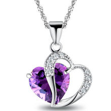 1 PC 9 Colors Top Fashion Class Women Girls Lady Heart Crystal Amethyst Maxi Statement Pendant Necklace NEW Jewelry(China (Mainland))