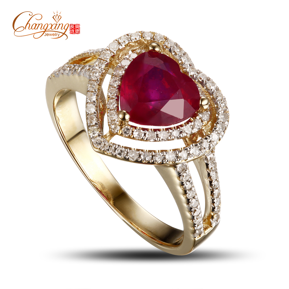 14K Gold Blood Red Ruby Natural Diamond Engagement Ring Fine Jewelry