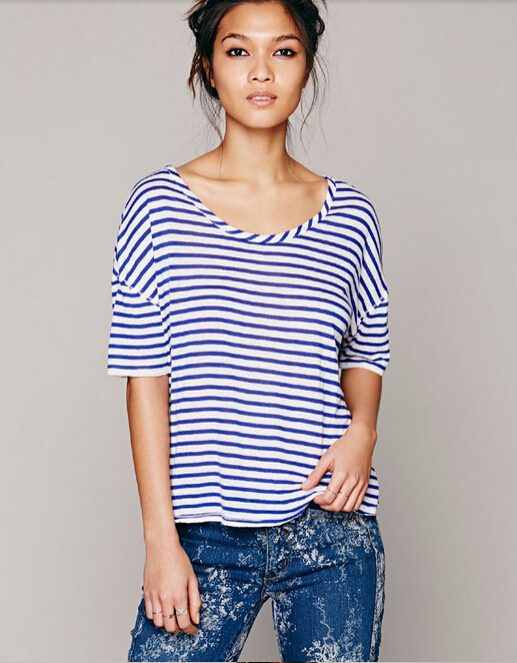 Summer New Women T Shirts Navy Blue And White Striped Wide