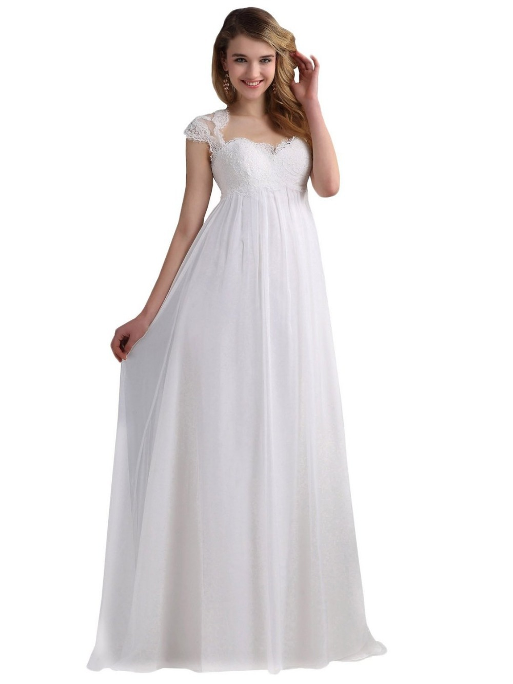 White ivory empire chiffon fashion beach wedding dresses for Long sleeve chiffon wedding dress