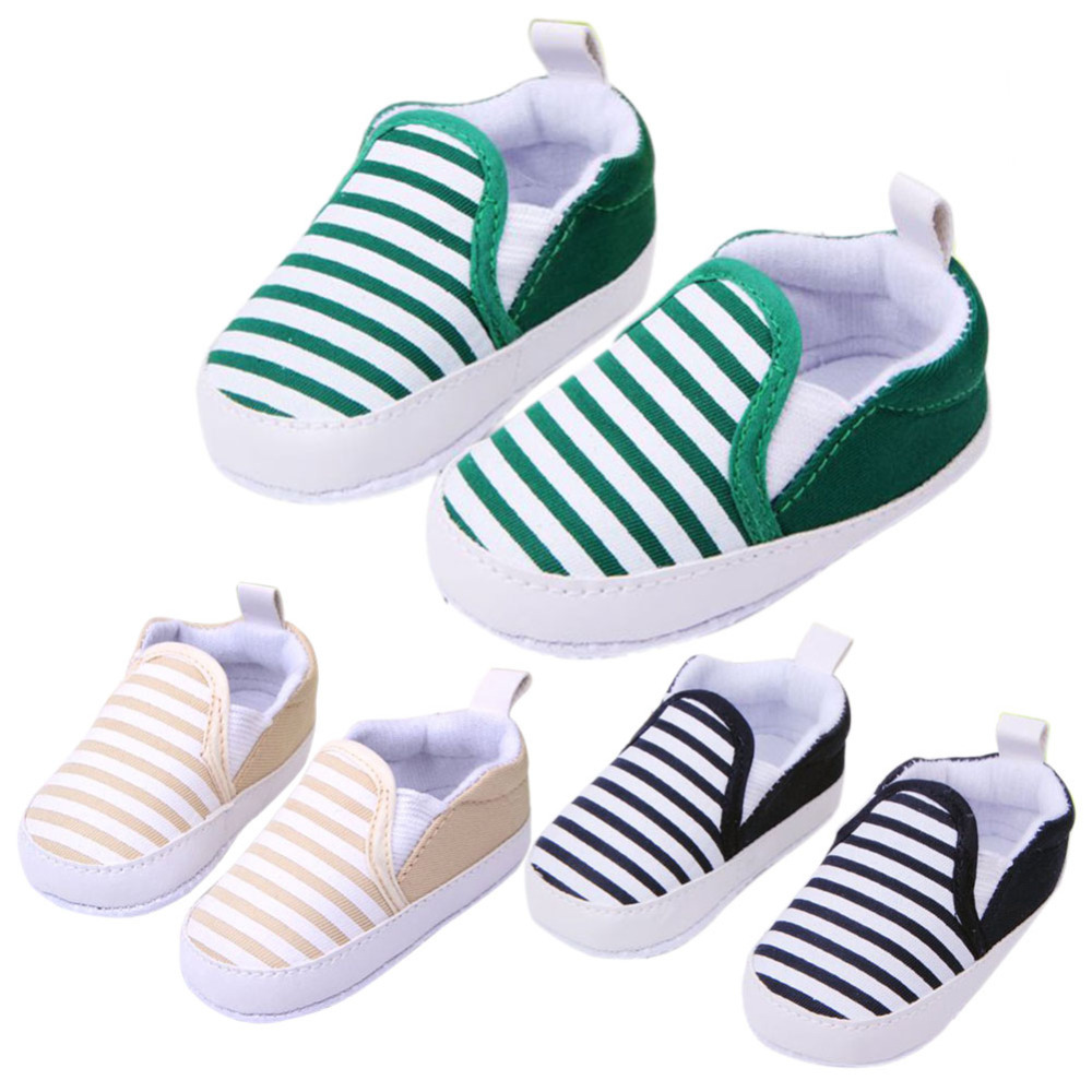 Hot Sale 1 Pair 3 Colors 3-13M Kids Baby Soft Bottom Walking Shoes Boy Girl Striped Anti-Slip Sneakers with(China (Mainland))