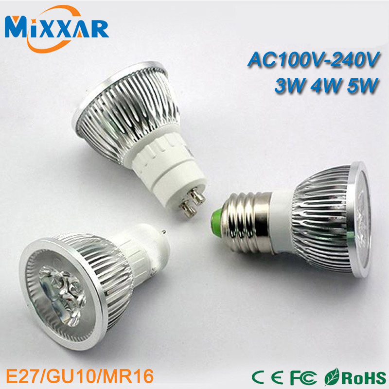 ZK35 Dimmable LED Spotlights Lamp LED Downlights LED Bulbs Lights 3W 4W 5W 85-265V 220V 110V GU10 E27 MR16(China (Mainland))