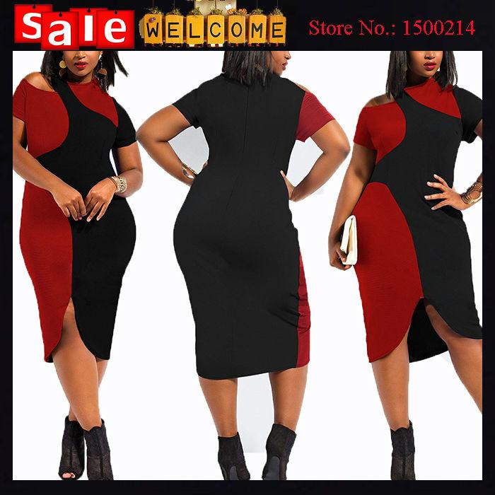 Big Large Size Women Asymmetric Bandage Dresses Casual Office O-neck Half Sleeve Patchwork Elegant Short Bodycon Dress Vestidos(China (Mainland))