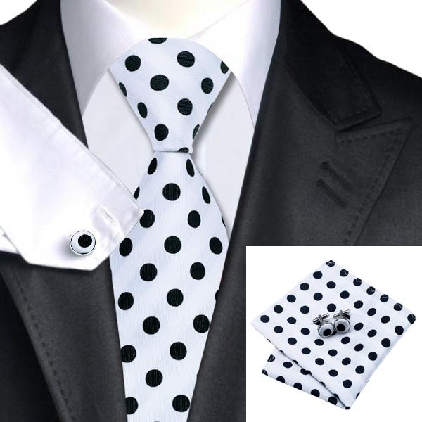 Aliexpress Buy SN 1057 Black White Dot Tie Hanky Cufflinks Sets Mens 100 Silk Ties For