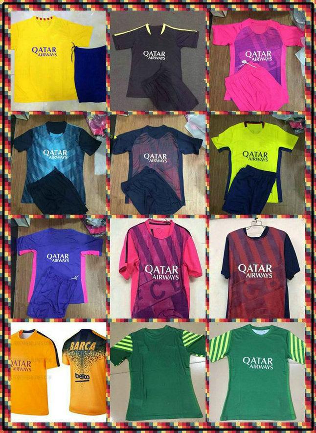 Customize! Uniforms Kit I. Rakitic Suarez Messi Neymar Red Yellow 2015-2016 Pedro Soccer Jersey Training shirt 7 Colors(China (Mainland))