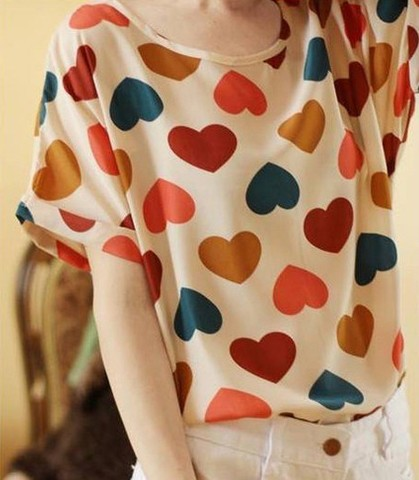 Printed Chiffon short-sleeved T-shirt the bat shirt blouse chiffon shirt
