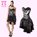 2016 new Black button Corset Phoenix Vintage Print Push Up Sexy Bustier Gothic Dress Steampunk Costumes