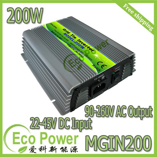 Free shipping CE &amp; ROHS  mppt  200W solar  grid tie inverter Pure Sine Wave 20-40V or 22-45V DC input 90-260V  AC output<br><br>Aliexpress