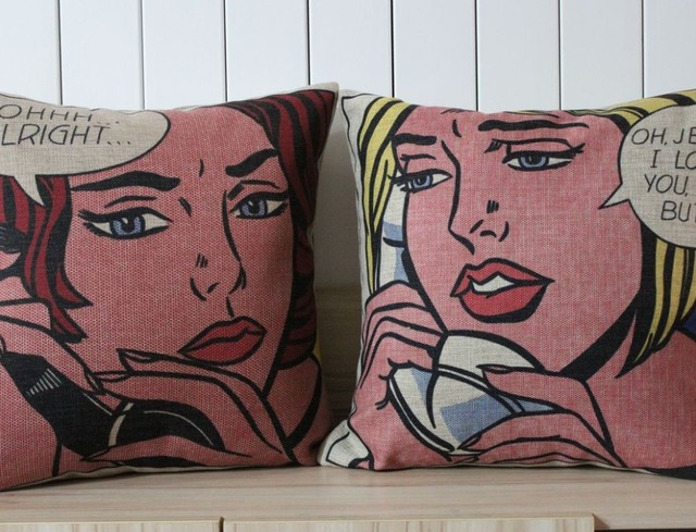 Free Shipping Decorative Cotton Linen Cushion Covers Pillow Cases- Girls on the phone