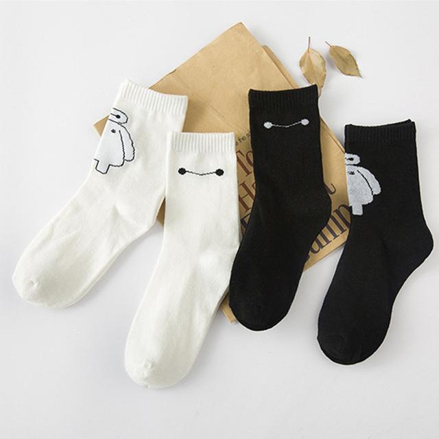 Новое поступление каваи Baymax носки новинка женщины черный белый мультфильм в трубке носки милые чистого хлопка носок для женщин девушки