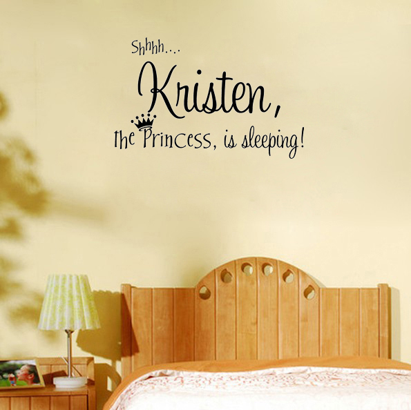 Word Wall Art Vinyl Lettering Home Decor ~ Personalized princess name cute decor wall say quote word