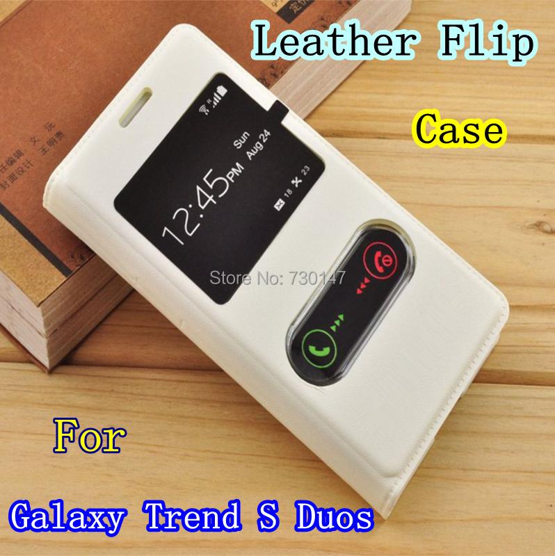 Гаджет  100% NEW For Samsung galaxy Trend S Duos S7562 GT-S7562 S7580 S7582 Leather cases S View window Flip Cover case free shipping None Телефоны и Телекоммуникации