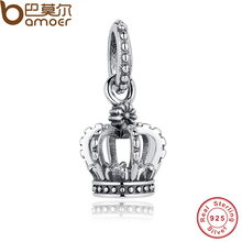 Buy GIRL'S Birthday Party Gift Noble Elegant 100% 925 Sterling Silver Crown Pendant Princess Charm Fit Bracelet PAS019 for $6.87 in AliExpress store